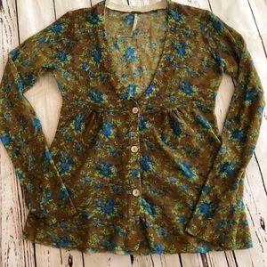 Free People Floral Sweater Cardigan SP Blue/Brown